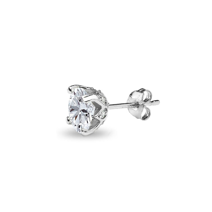 Sterling Silver Created White Sapphire Oval Crown Stud Earrings