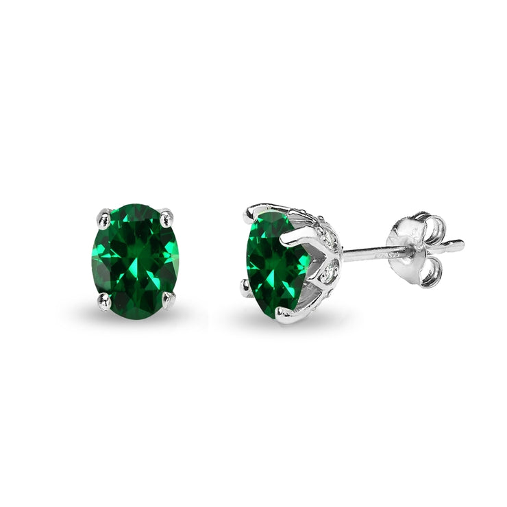 Sterling Silver Created Emerald and White Topaz Oval Crown Stud Earrings