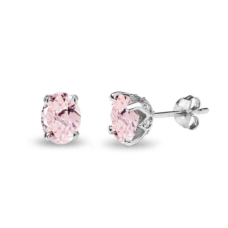Sterling Silver Created Morganite and White Topaz Oval Crown Stud Earrings