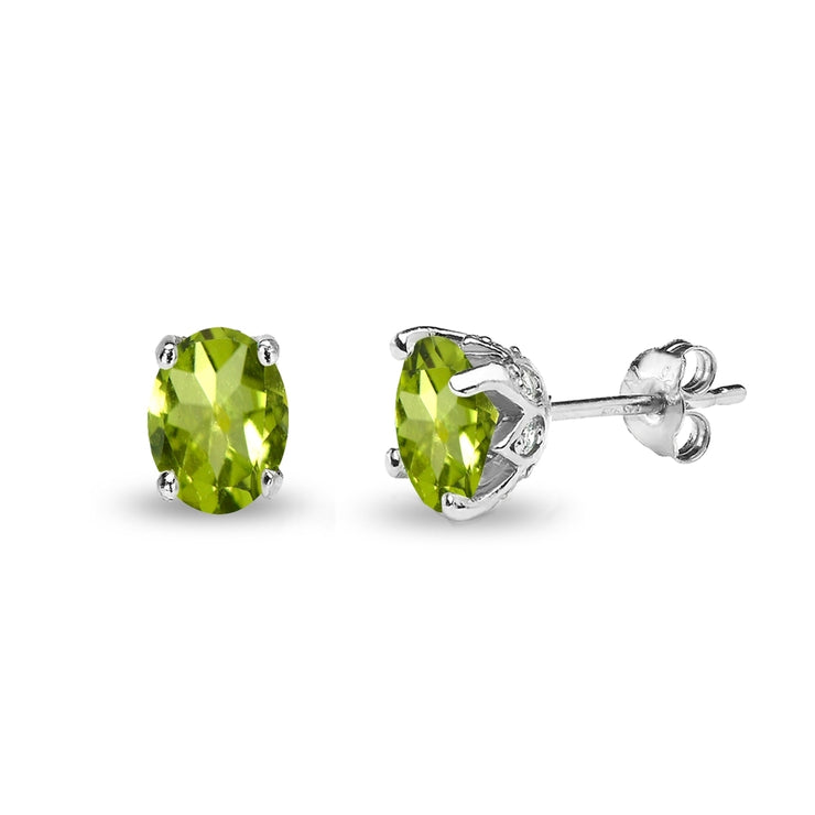 Sterling Silver Peridot and White Topaz Oval Crown Stud Earrings