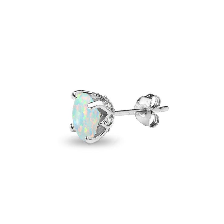 Sterling Silver Created Opal and White Topaz Oval Crown Stud Earrings