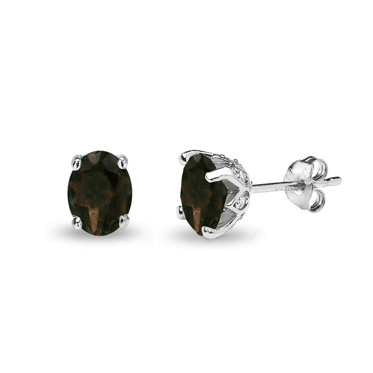 Sterling Silver Smoky Quartz and White Topaz Oval Crown Stud Earrings