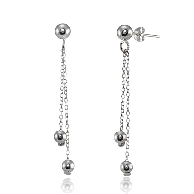 Sterling Silver Polished Double Bead Dangling Chain Drop Earrings