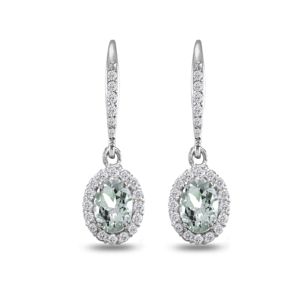 Sterling Silver Aquamarine Oval Dangle Halo Leverback Earrings with White Topaz Accents