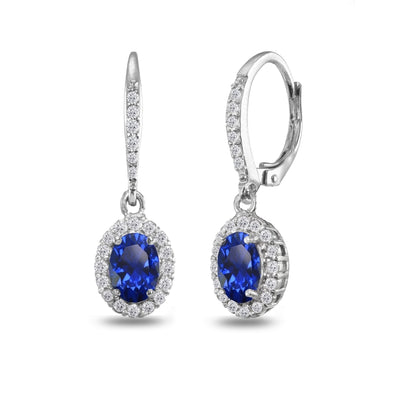 Sterling Silver Created Blue Sapphire Oval Dangle Halo Leverback Earrings with White Topaz Accents