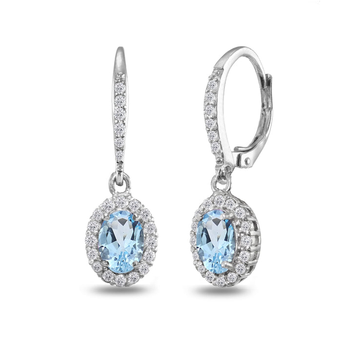 Sterling Silver Blue Topaz Oval Dangle Halo Leverback Earrings with White Topaz Accents