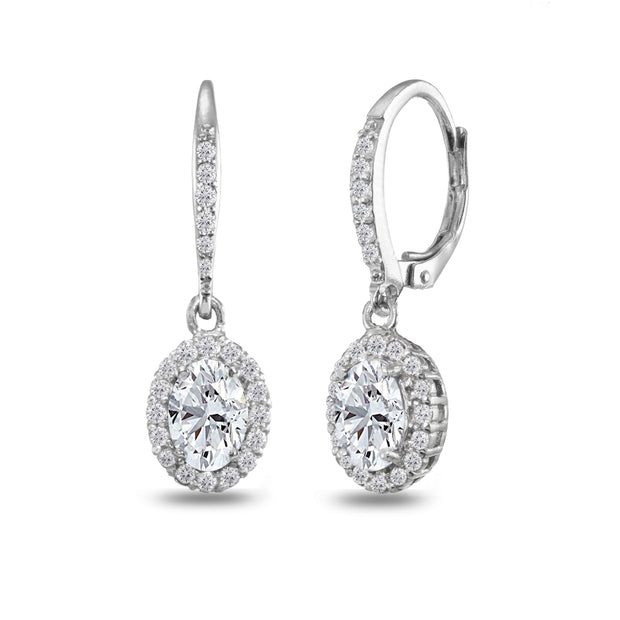 Sterling Silver Created White Sapphire Oval Dangle Halo Leverback Earrings with White Topaz Accents