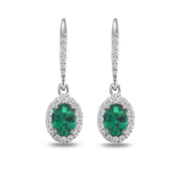 Sterling Silver Created Emerald Oval Dangle Halo Leverback Earrings with White Topaz Accents