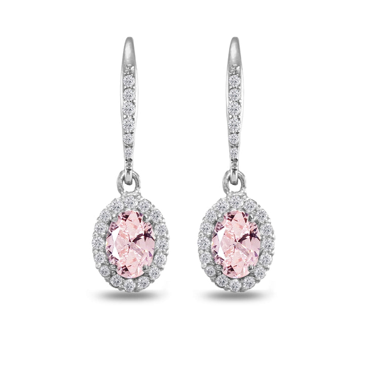 Sterling Silver Created Morganite Oval Dangle Halo Leverback Earrings with White Topaz Accents