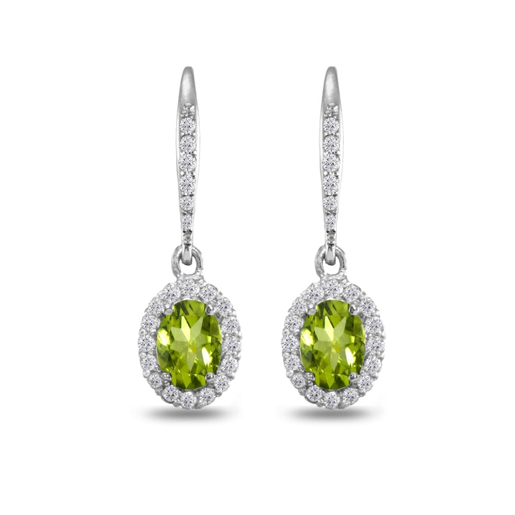 Sterling Silver Peridot Oval Dangle Halo Leverback Earrings with White Topaz Accents