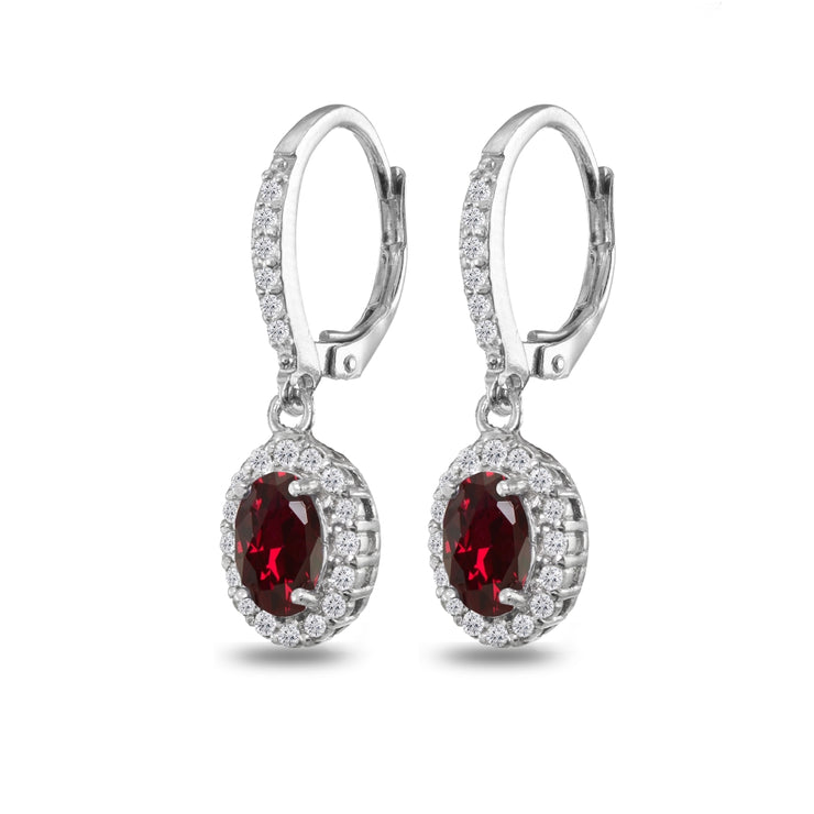 Sterling Silver Created Ruby Oval Dangle Halo Leverback Earrings with White Topaz Accents