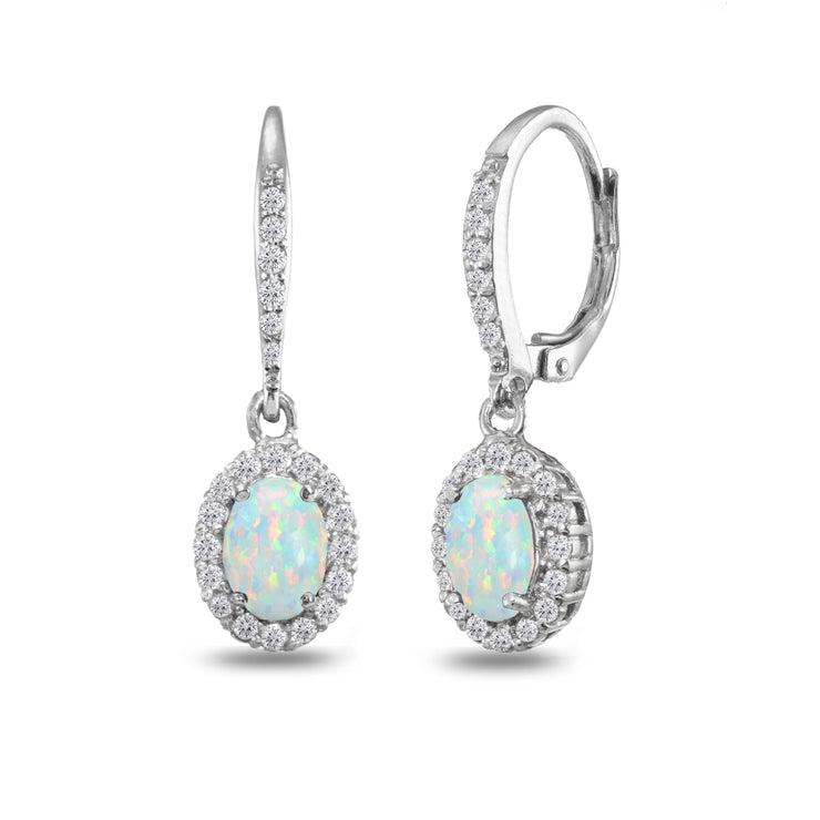 Sterling Silver Created Opal Oval Dangle Halo Leverback Earrings with White Topaz Accents