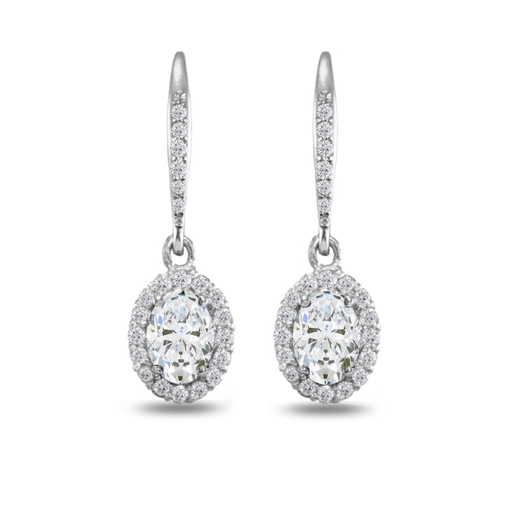 Sterling Silver Cubic Zirconia Oval Dangle Halo Leverback Earrings with White Topaz Accents