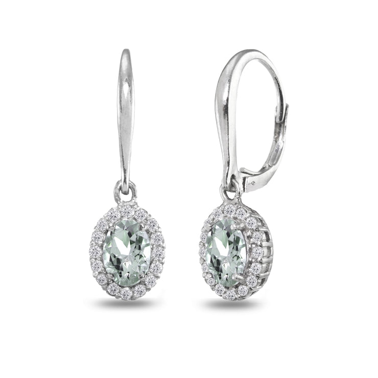 Sterling Silver Aquamarine & White Topaz Dainty Oval Dangle Halo Leverback Earrings