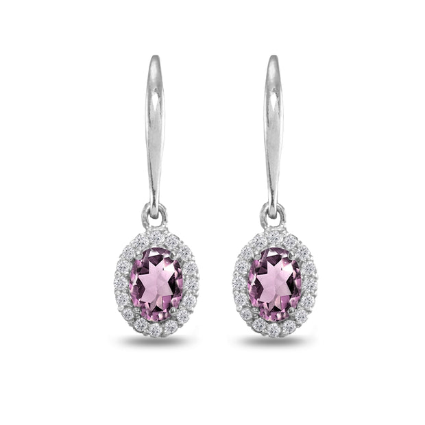 Sterling Silver Simulated Alexandrite & White Topaz Dainty Oval Dangle Halo Leverback Earrings
