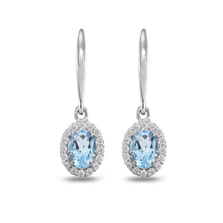 Sterling Silver Blue Topaz & White Topaz Dainty Oval Dangle Halo Leverback Earrings