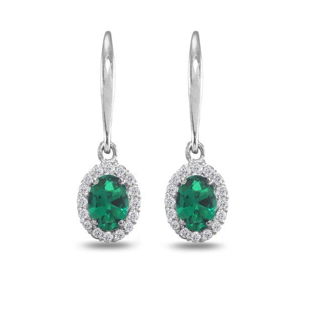 Sterling Silver Created Emerald & White Topaz Dainty Oval Dangle Halo Leverback Earrings