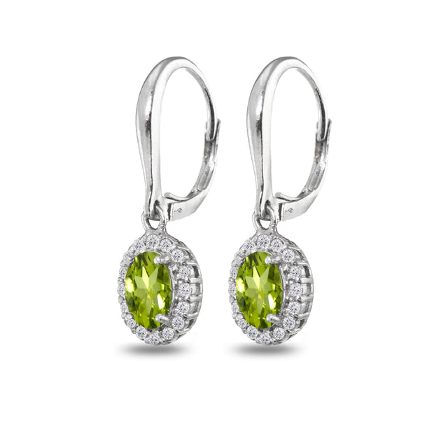 Sterling Silver Peridot & White Topaz Dainty Oval Dangle Halo Leverback Earrings