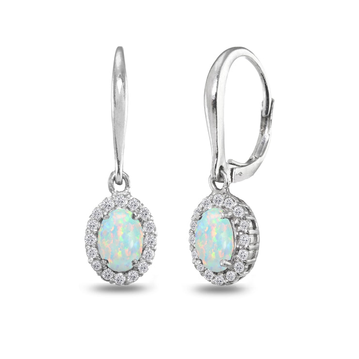 Sterling Silver Created Opal & White Topaz Dainty Oval Dangle Halo Leverback Earrings