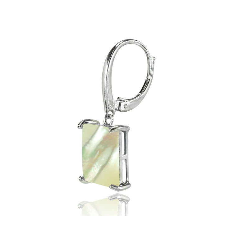 Sterling Silver Created Mother of Pearl Square Leverback Dangle Earrings