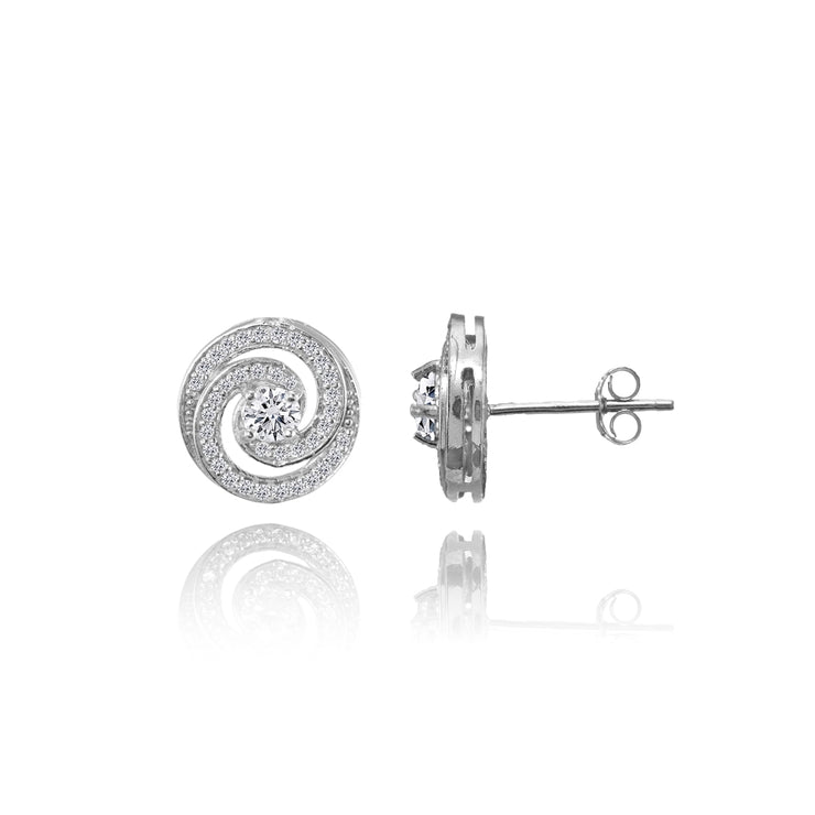 Sterling Silver Cubic Zirconia Round Swirl Stud Earrings