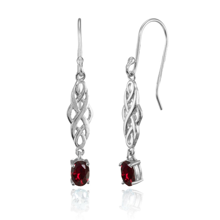 Sterling Silver Created Ruby Oval Celtic Knot Drop Dangle Earrings