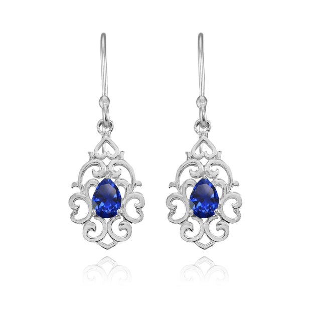 Sterling Silver Created Blue Sapphire Filigree Heart Teardrop Dangle Earrings