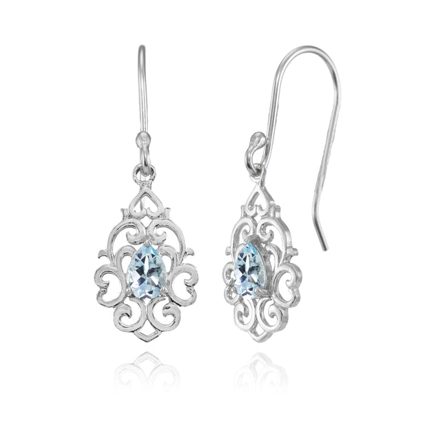 Sterling Silver Blue Topaz Filigree Heart Teardrop Dangle Earrings