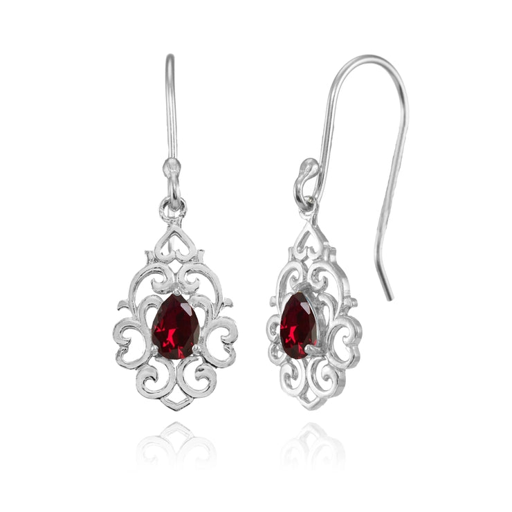Sterling Silver Created Ruby Filigree Heart Teardrop Dangle Earrings