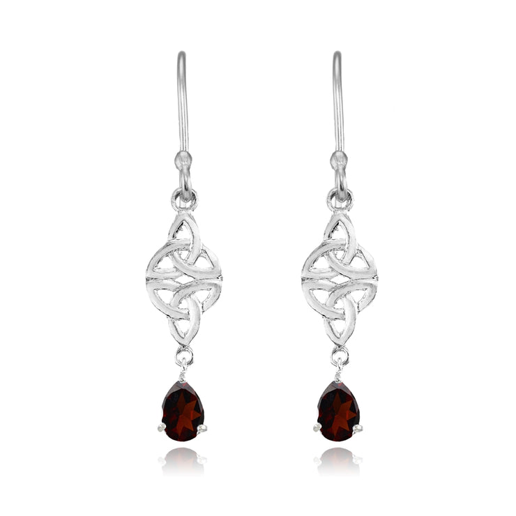 Sterling Silver Garnet Celtic Trinity Knot Teardrop Dangle Drop Earrings