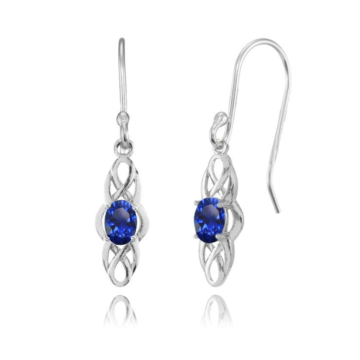 Sterling Silver Created Blue Sapphire Celtic Knot Oval Dangle Drop Earrings