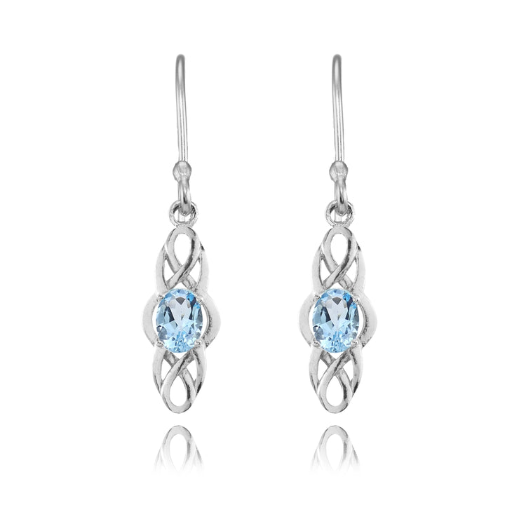 Sterling Silver Blue Topaz Celtic Knot Oval Dangle Drop Earrings