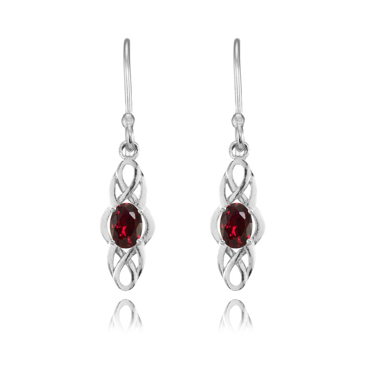 Sterling Silver Created Ruby Celtic Knot Oval Dangle Drop Earrings