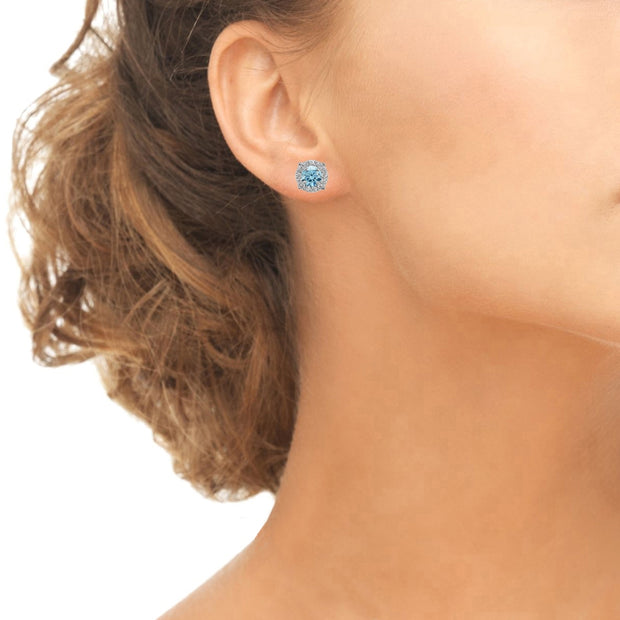 Sterling Silver 5mm Round Light Blue Halo Stud Earrings created with Swarovski Crystals