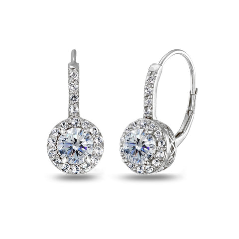 Sterling Silver Clear Halo Leverback Drop Earrings created with Swarovski Crystals