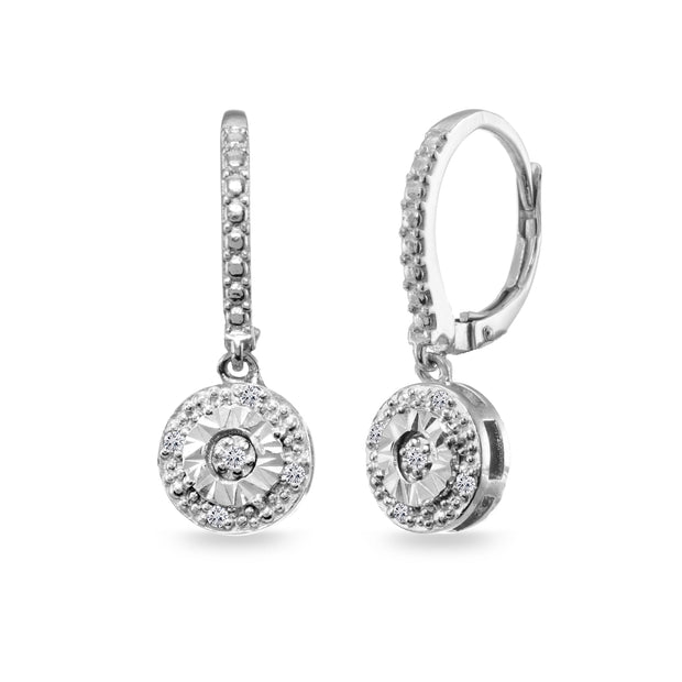 Sterling Silver .10ct Diamond Miracle-Set Round Dangle Leverback Earrings