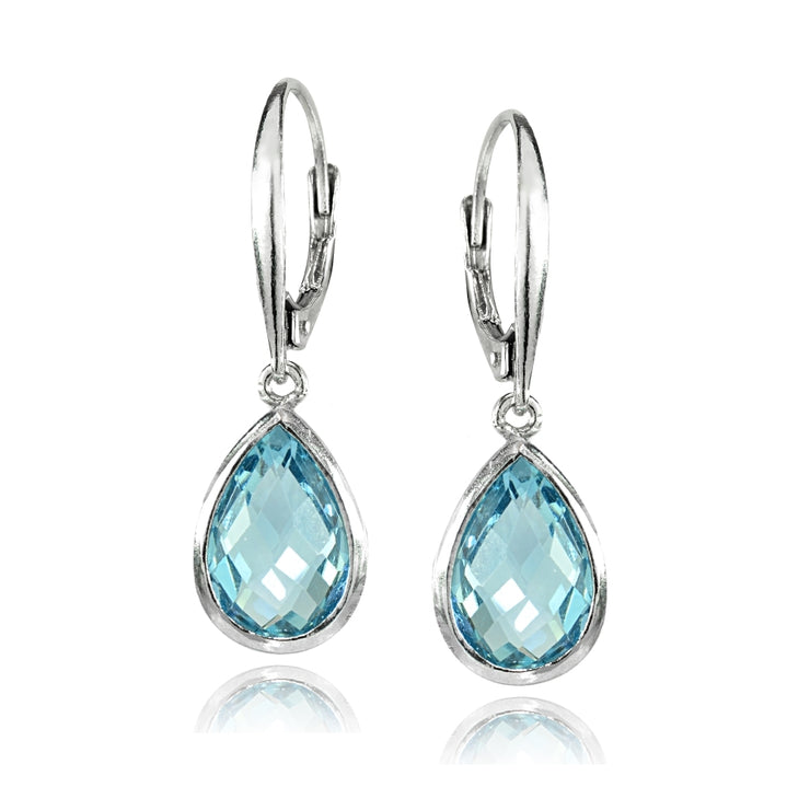 Sterling Silver Blue Topaz 12x8mm Bezel-Set Pear Teardrop Dangle Leverback Earrings