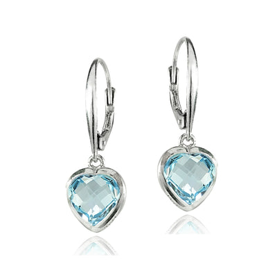 Sterling Silver Blue Topaz 8mm Bezel-Set Heart Dangle Leverback Earrings