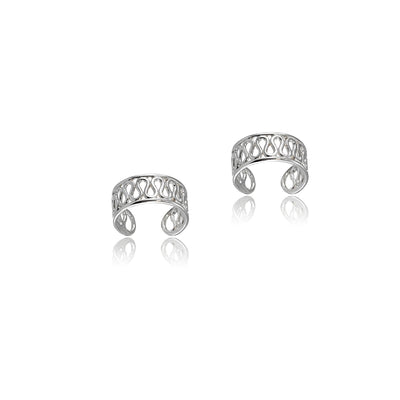 Sterling Silver Polished Filigree Swirl Clip On Ear Cuff