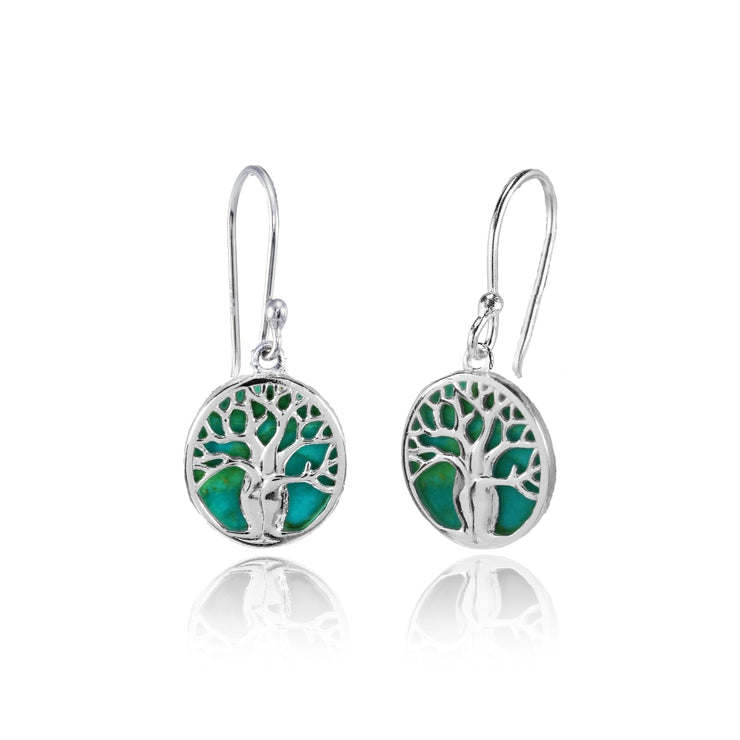 Sterling Silver Created Turquoise Polished Tree of Life Dangle Earrings