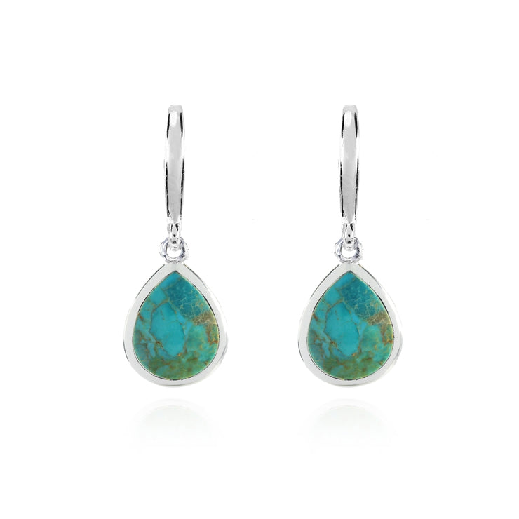 Sterling Silver Created Turquoise High Polished Pear Shape Dangle Earrings