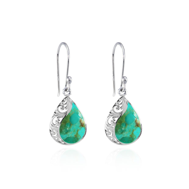 Sterling Silver Created Turquoise Polished Filigree Teardrop Dangle Earrings
