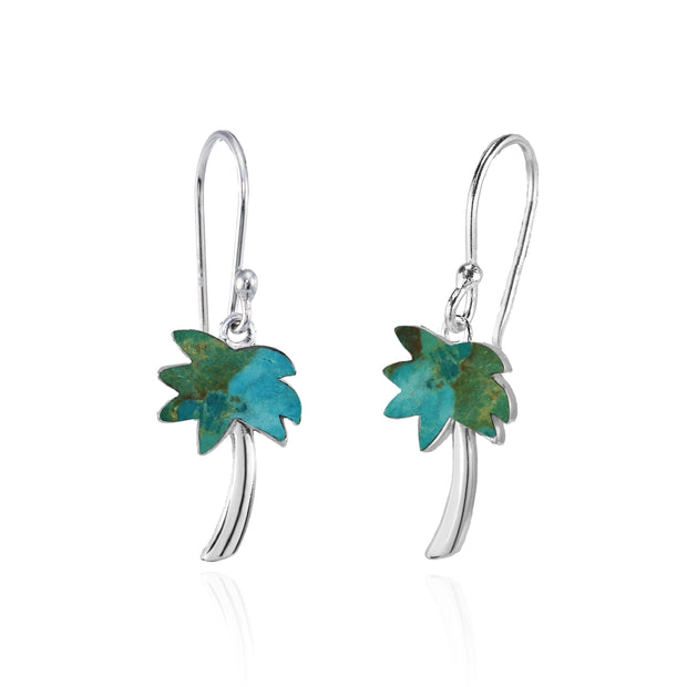 Sterling Silver Created Turquoise Polished Palm Tree Dangle Earrings
