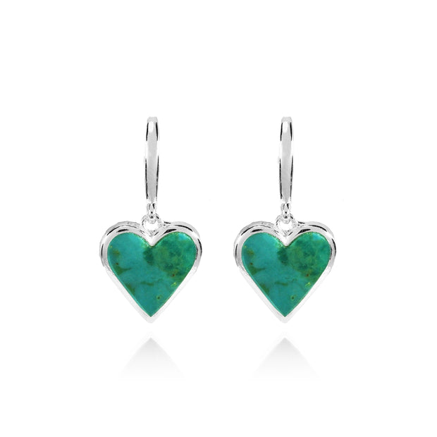 Sterling Silver Created Turquoise Polished Heart Dangle Earrings