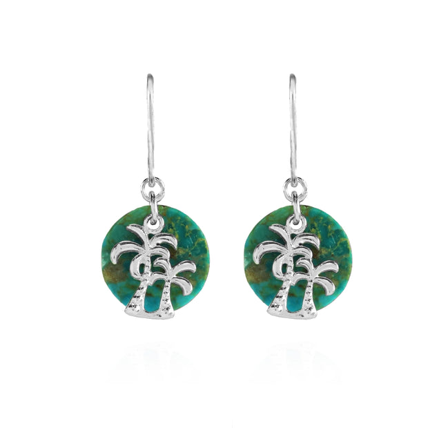 Sterling Silver Created Turquoise Round Polished Palm Trees Dangle Earrings