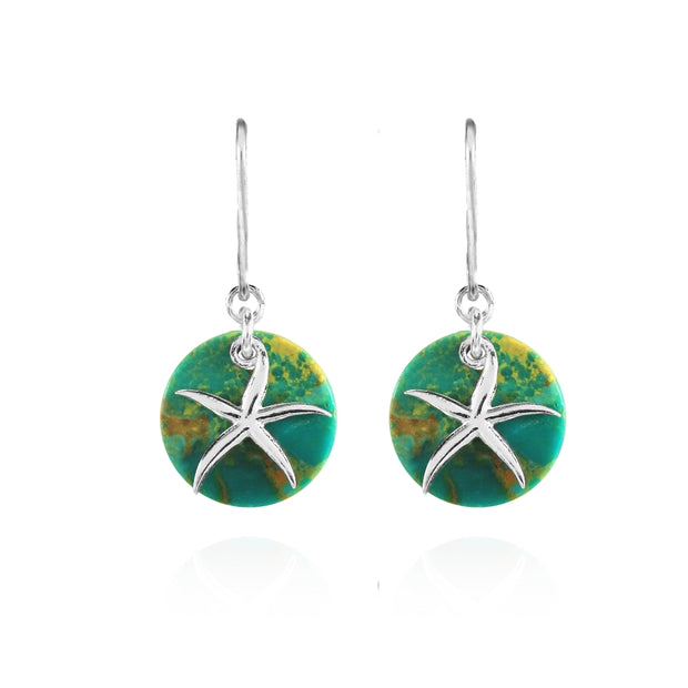 Sterling Silver Created Turquoise Round Polished Starfish Dangle Earrings
