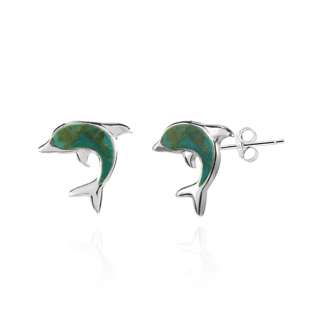 Sterling Silver Created Turquoise Dolphin Animal Stud Earrings