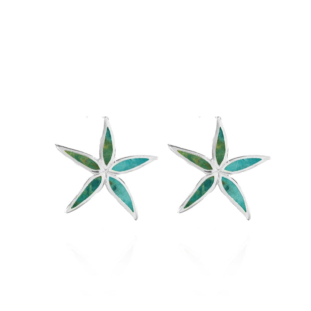 Sterling Silver Created Turquoise Flower Stud Earrings