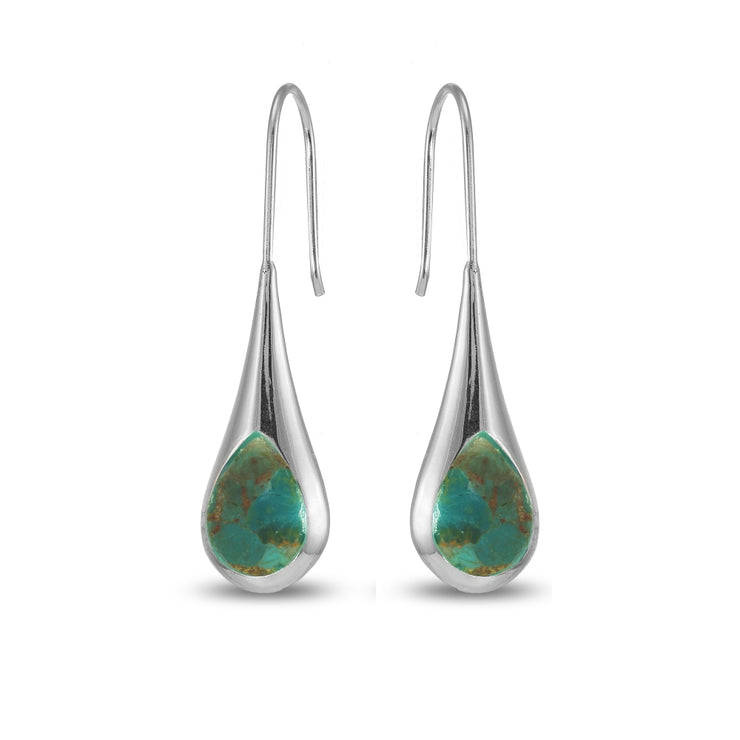 Sterling Silver Created Turquoise Long Pear Shape Drop Earrings