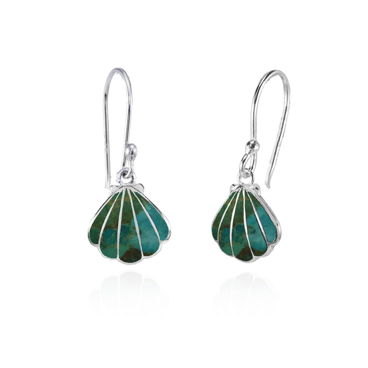 Sterling Silver Created Turquoise Seashell Dangle Earrings